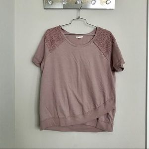 Maurices pink embroider pullover sz 1